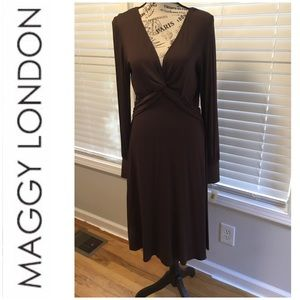 Maggy London Chocolate Brown Long Dress Size 14